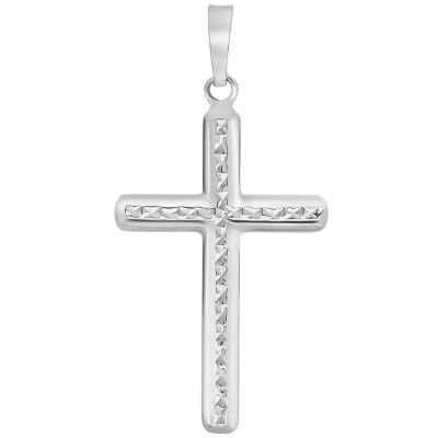 14k Yellow Gold, White Gold or Rose Gold Textured Religious Classic Cross Pendant