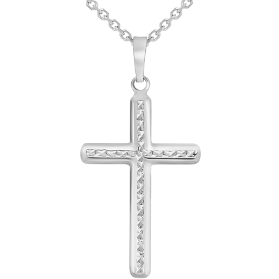 14k White Gold Textured Religious Classic Cross Pendant Necklace with Rolo Cable Chain