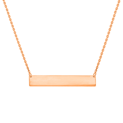 Solid 14k Rose Gold Engravable Personalized Bar Necklace with Spring Ring Clasp