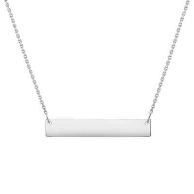 Solid 14k White Gold Engravable Personalized Bar Necklace wth Spring Ring Clasp