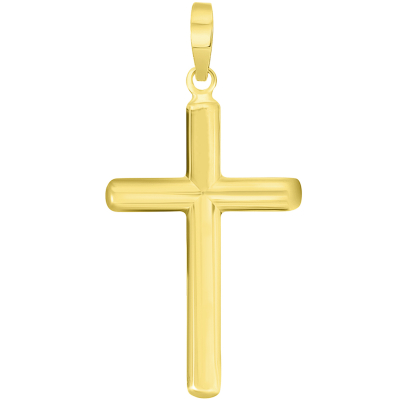 14k Solid Yellow Gold, White Gold or Rose Gold Traditional Religious Plain Cross Pendant