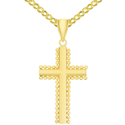 Solid 14k Yellow Gold Beaded Edged Plain Religious Cross Pendant Necklace with Rolo, Curb, or Figaro Chain Necklaces