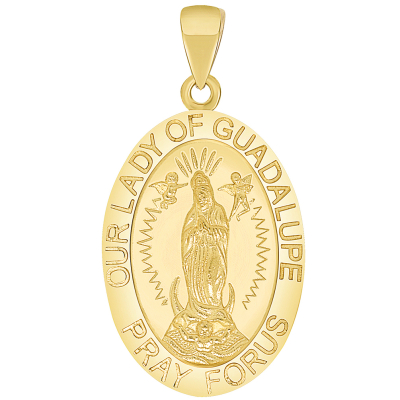 Solid 14k Yellow Gold Our Lady Of Guadalupe Pray For Us Miraculous Medal Pendant