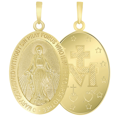 Solid 14k Yellow Gold Classic Miraculous Medallion of the Virgin Mary Pendant