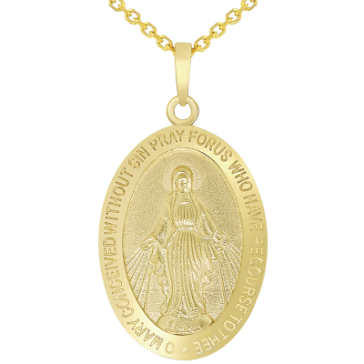 Solid 14k Yellow Gold Classic Miraculous Medallion of the Virgin Mary Pendant Necklace with Cable Chain