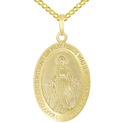 Solid 14k Yellow Gold Classic Miraculous Medallion of the Virgin Mary Pendant Necklace with Curb Chain