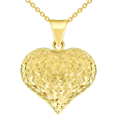 14k Yellow Gold Sparkle Cut Puffed Heart Charm Pendant Necklace