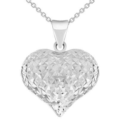 14k White Gold Sparkle Cut Puffed Heart Charm Pendant Necklace