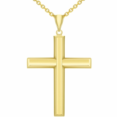 14k Yellow Gold Plain & Simple Religious High Polish Cross Pendant Necklace Available with Rolo, Curb, or Figaro Chain