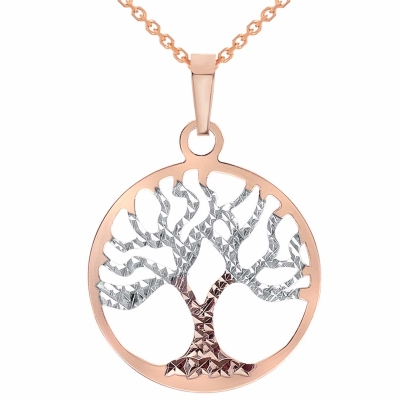 Solid 14k Rose Gold Textured Reversible Round Tree of Life Pendant Necklace