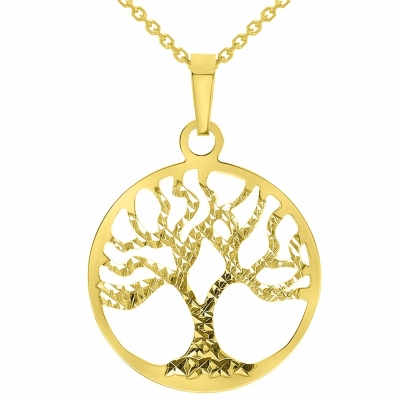 Solid 14k Yellow Gold Textured Reversible Round Tree of Life Pendant Necklace Available with Rolo Chain