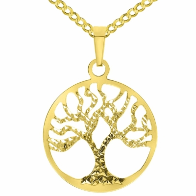 Solid 14k Yellow Gold Textured Reversible Round Tree of Life Pendant Necklace Available with Curb Chain