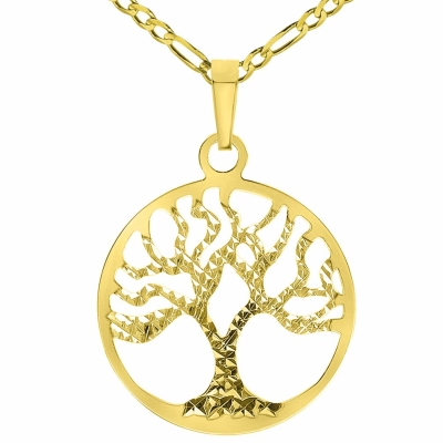 Solid 14k Yellow Gold Textured Reversible Round Tree of Life Pendant Necklace Available with Figaro Chain