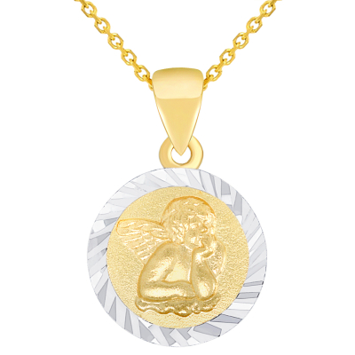 Solid 14K Yellow Gold Round Guardian Angel Textured Medallion Charm Pendant Necklace Available with Rolo Chain