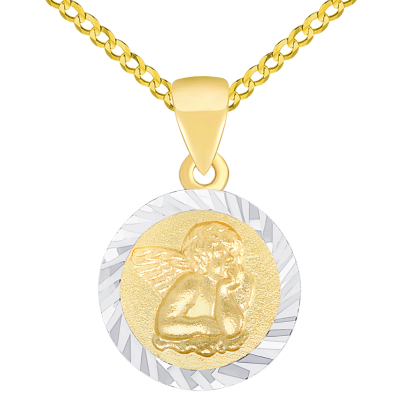 Solid 14K Yellow Gold Round Guardian Angel Textured Medallion Charm Pendant Necklace Available with Curb Chain