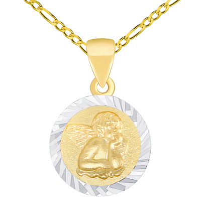 Solid 14K Yellow Gold Round Guardian Angel Textured Medallion Charm Pendant Necklace Available Figaro Chain