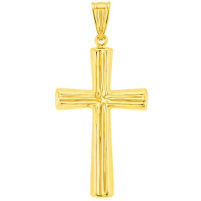 14K Yellow Gold Polished Plain Religious Cross Pendant