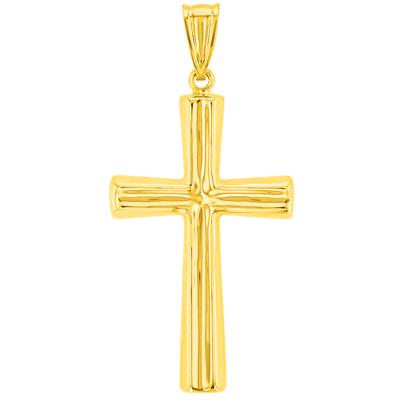 14K Yellow Gold Polished Plain Religious Cross Pendant