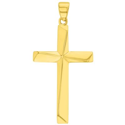 Solid 14K Yellow Gold Elegant Religious Plain Cross Pendant