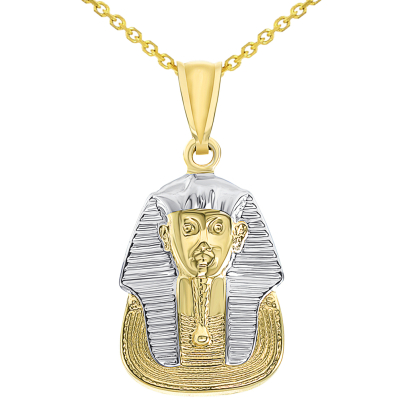 14k Yellow Gold The Mask of Egyptian Pharaoh King Tut Pendant Necklace Available with Rolo, Curb, or Figaro Chain Necklaces