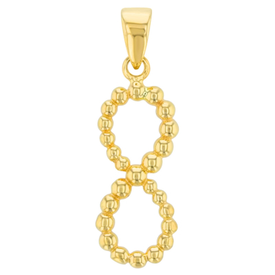14K Yellow Gold Beaded Vertical Infinity Pendant
