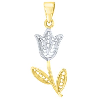 14k Yellow Gold Filigree Tulip Two Tone Flower Pendant