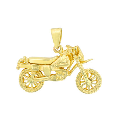 Solid 14K Yellow Gold Simple Motorcycle Bike Pendant