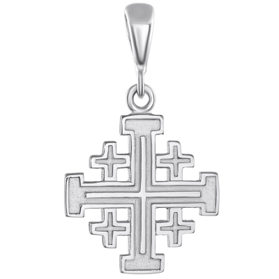 Solid 14K White Gold Crusaders Jerusalem Cross Pendant