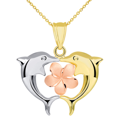 14k Tri Color Gold High Polish Kissing Dolphins with Hawaiian Plumeria Flower Pendant Necklace
