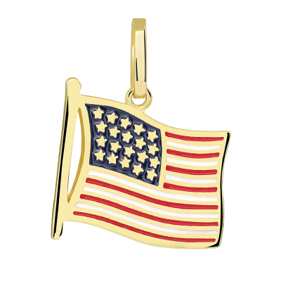 14k Yellow Gold National Flag of the United States of America Pendant