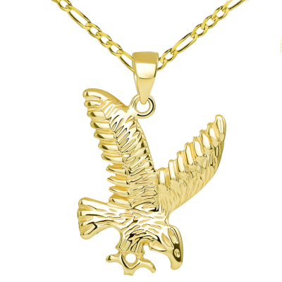 14k Solid Yellow Gold Soaring American Eagle Animal Pendant with Chain Necklace
