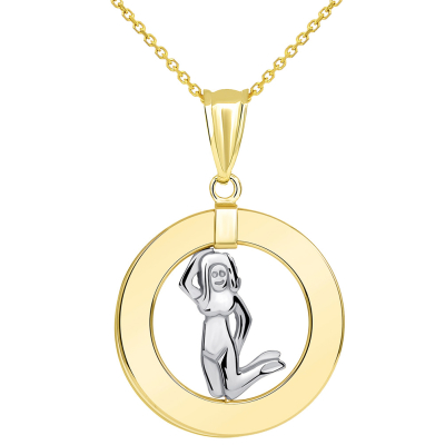 14k Two Tone Gold Open Circle Virgo Zodiac Sign Pendant Necklace