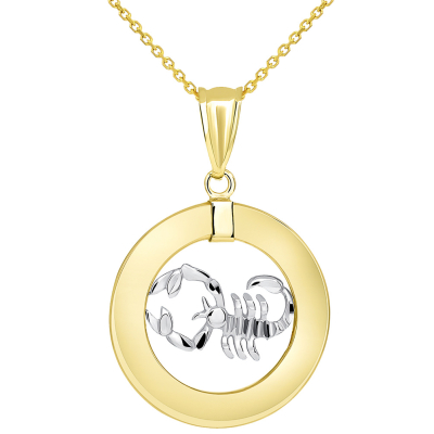 14k Two Tone Gold Open Circle Scorpio Zodiac Sign Pendant Necklace