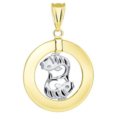 14k Two Tone Gold Open Circle Pisces Zodiac Sign Pendant
