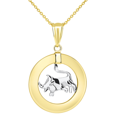 14k Two Tone Gold Open Circle Taurus Zodiac Sign Pendant Necklace