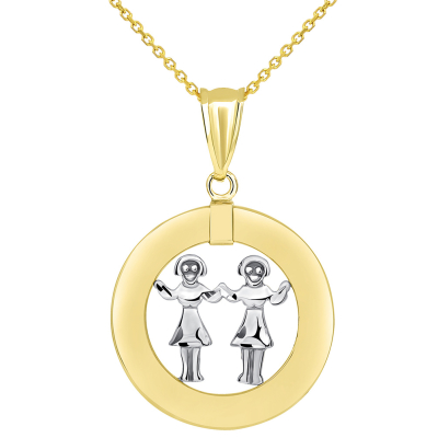 14k Two Tone Gold Open Circle Gemini Zodiac Sign Pendant Necklace