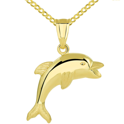 14k Yellow Gold Polished Smiling and Jumping 3D Dolphin Pendant Cuban Necklace