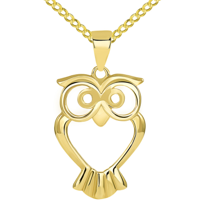 Solid 14K Yellow Gold Open Big Eyes Owl Animal Pendant with Cuban Chain Necklace