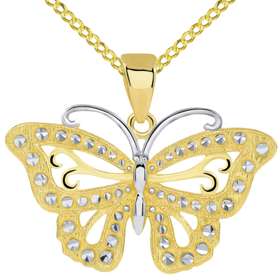 14k Solid Yellow Gold Budded Butterfly Pendant with Cuban Necklace