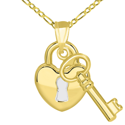 14k Yellow Gold Polished Two Tone Heart Shaped Lock and Love Key Pendant Figaro Necklace