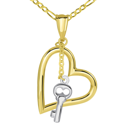 14k Two Tone Gold Open Heart Pendant with White Gold Dangling Key Charm Figaro Necklace