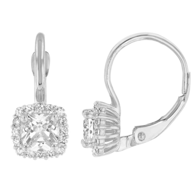 14K White Gold Pave Square CZ Solitaire Dangling Drop Earrings
