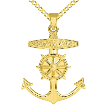 14k Yellow Gold 3D Ship Anchor and Wheel Nautical Pendant Cuban Necklace