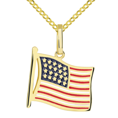 14k Yellow Gold National Flag of the United States of America Pendant with Cuban Necklace
