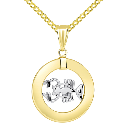 14k Two Tone Gold Open Circle Scorpio Zodiac Sign Pendant with Cuban Necklace