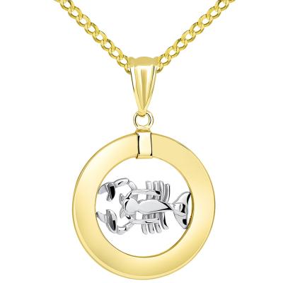 14k Two Tone Gold Open Circle Scorpio Zodiac Sign Pendant with Cuban Necklace
