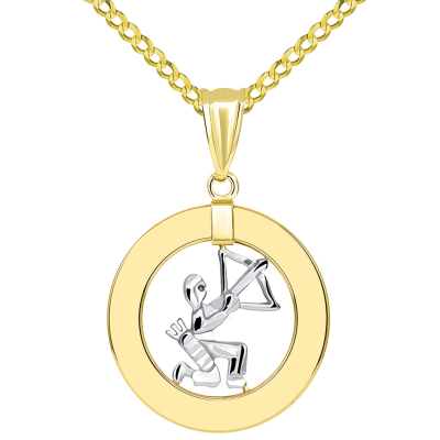 14k Two Tone Gold Open Circle Sagittarius Zodiac Sign Pendant Cuban Necklace