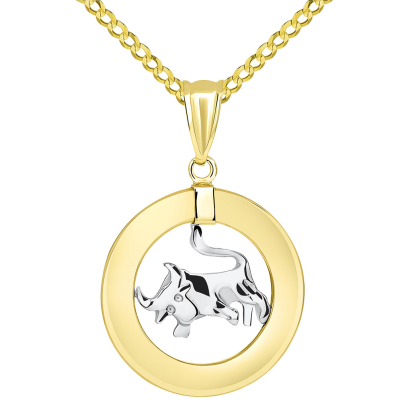 14k Two Tone Gold Open Circle Taurus Zodiac Sign Pendant Cuban Necklace