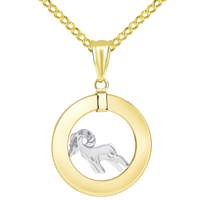 14k Two Tone Gold Open Circle Aries Zodiac Sign Pendant Cuban Necklace