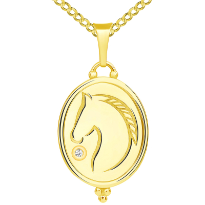 Hand Engraved 14k Yellow Gold CZ Solitaire Stallion Horse Oval Medallion Pendant with Cuban Chain Necklace